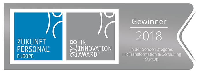 Gewinner 2018 Zukunft Personal HR Innovation Award in der Sonderkategorie HR Transformation & Consulting Startup