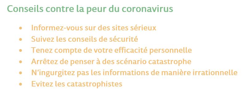Conseils contre la peur du coronavirus