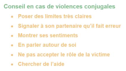 Conseil en cas de violences conjugales