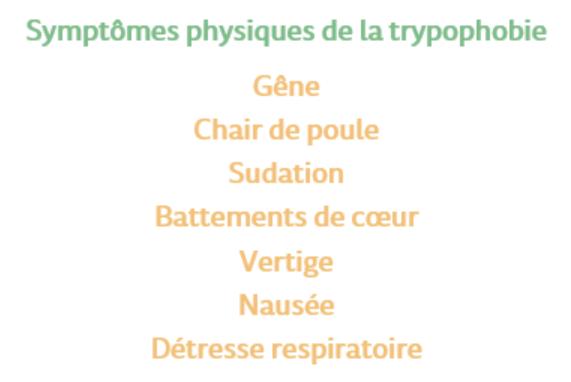 Symptômes physiques de la trypophobie