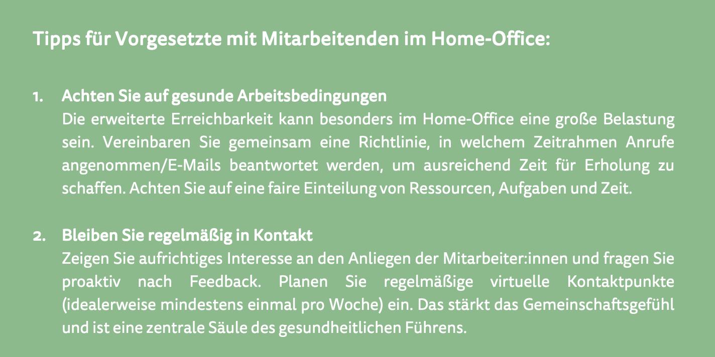 Tipps für Vorgesetzte mit Mitarbeitenden im Home-Office